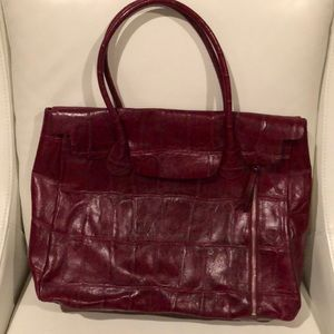 Kate Landry Crimson Red Leather Satchel Purse